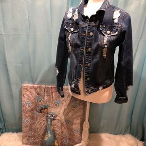 Heavily Distressed Denim jacket by Judy Blume Sz L